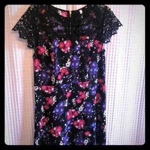 Kensie floral dress with lace